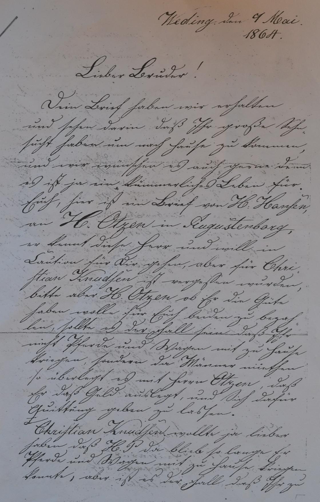 Brief 1864 Andresen